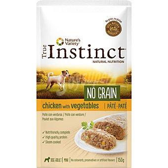True Instinct NO GRAIN comida húmeda en forma de paté para perros mini adultos con pollo y verduras envase 150 g envase 150 g