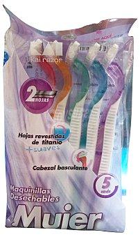 KAI Maquinilla depilación mujer desechable 2 hojas Paquete de 5 unidades
