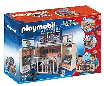 PLAYMOBIL Playset City Action Cuartel de policía en cofre, incluye 2 figuras, modelo 5421 1 unidad