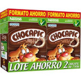 NESTLE CHOCAPIC cereales de desayuno integrales sabor chocolate  pack ahorro 2 paquetes 750 g