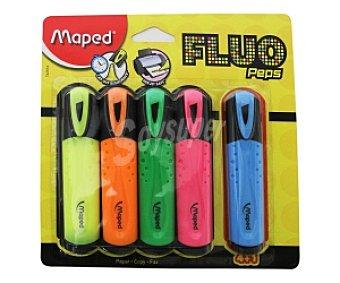 Maped Lote de 5 marcadores fluorescentes con punta biselada y tinta amarilla, naranja, verde, rosa y azul 1 unidad