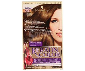 Keratin Color Schwarzkopf Coloración Permanente nº 6.0 Rubio Oscuro 1 unidad