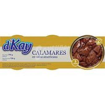 DKAY Calamar en trozos en salsa americana Pack 3x65 g