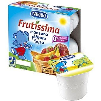 Nestlé Frutissima Puré de manzana plátano y fresa estuche 400 g Pack 4 x 100 g