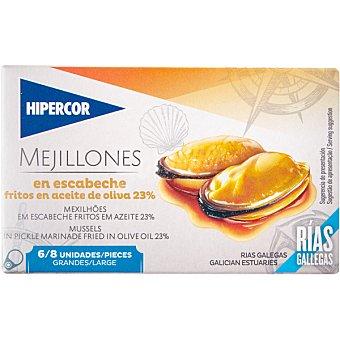 Hipercor Mejillones de las rías gallegas en escabeche fritos en aceite de oliva 6/8 piezas lata 69 g neto escurrido Lata 69 g neto escurrido