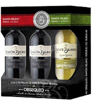 Monte Blanco Estuche de vino 2 tinto reserva D.O. Rioja + 1 blanco D.O. Rueda 1 ud