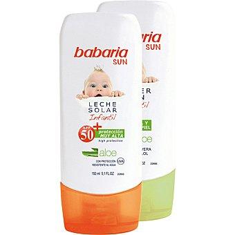 Babaria Leche solar infantil aloe FP-50+ resistente al agua + after sun 2 frascos de 150 ml