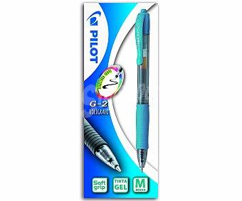 Pilot Bolígrafo retráctil de grip suave, punta media y tinta en gel de color azul claro con escritura suave 1 unidad