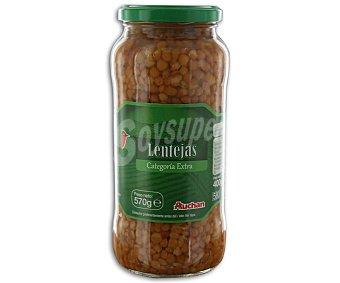 Auchan Lentejas cocidas al natural Tarro de 400 gramos