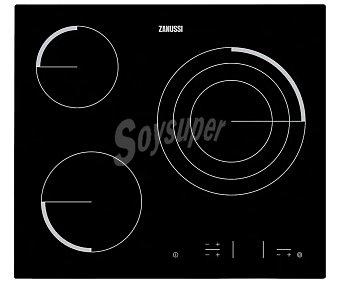 Zanussi Placa vitrocerámica 3 zonas de cocción, potencia: 5700w, zona triple de 27cm, control Easy touch.a: 59cm Z6123IOK