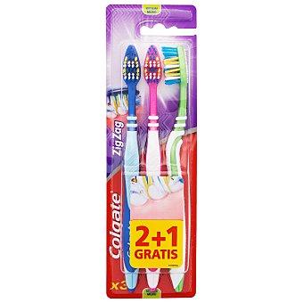 Colgate Cepillo de dientes zigzag medio Blister 3 uds