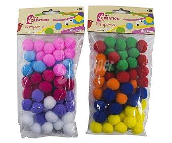 PRODUCTO ALCAMPO Pompones de bola decorativos, surtdos en colores craft alcampo