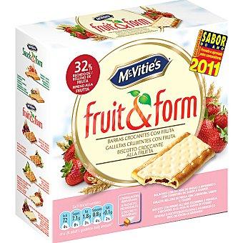 MCVITIE'S FRUIT&FORM Galletas crujientes rellenas de fresa con cobertura sabor a yogurt Estuche 213 g