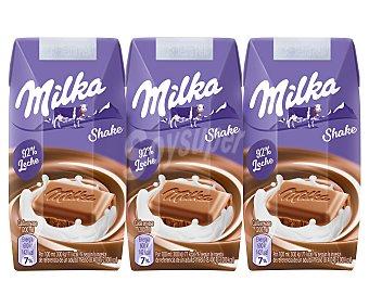 MILKA SHAKE Batido de chocolate con un 92% de leche 3 x 200 ml