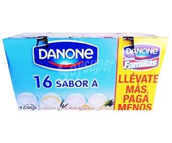 Danone Yogur sabores coco-macedonia-vainilla y piña Pack de 16x125 g