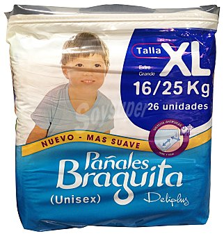 DELIPLUS PAÑAL 16 A 25 Kg TALLA XL BRAGUITA PAQUETE 26 u