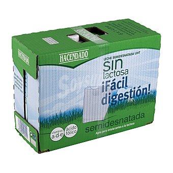 Hacendado Leche semidesnatada sin lactosa Brick pack 6 x 1 l - 6 l