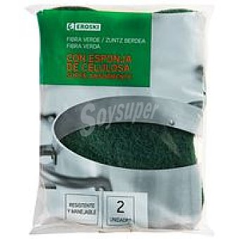 Eroski Estropajo de fibra verde c. esponja vegetal Pack 2 unid