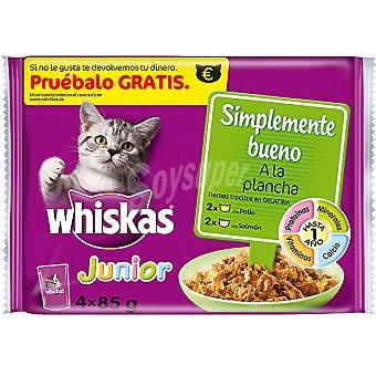 Whiskas Comida para gatos Simplemente Bueno Junior pollo y salmón a la plancha en trocitos con gelatina para gatos  4 bolsas de 85 g