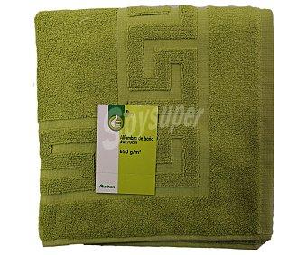 Auchan Alfombra de baño rizo 100% algodón, 650 gramos/m², color verde pistacho, 50x70 centímetros 1 Unidad