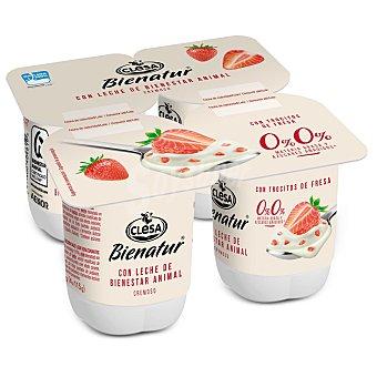 Clesa Bienatur yogur con trocitos de fresa cremoso desnatado 0% m.g. 0% azúcares añadidospack 4 unidades 115 g
