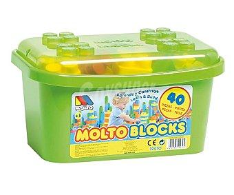 MOLTO Cubo de 40 Bloques Grandes, de 36x14x25 Centímetros, Fuertes y Resistentes 1 Unidad
