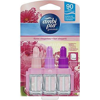 AMBIPUR 3VOLUTION Ambientador eléctrico delicadas Flores Rosas 3 fragancias complementarias recambio