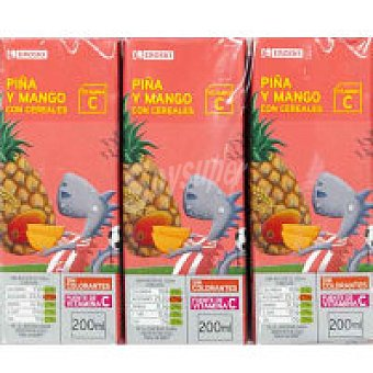 Eroski Bebida de piña-mango con cereales Pack 6x20 cl