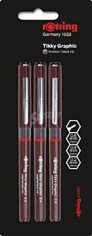 Rotring Lote de 3 rotuladores calibrados, con punta de fibra con grosores de trazado de 0.2, 0.4 y 0.8 milímetros y tinta pigmentada negra 1 unidad