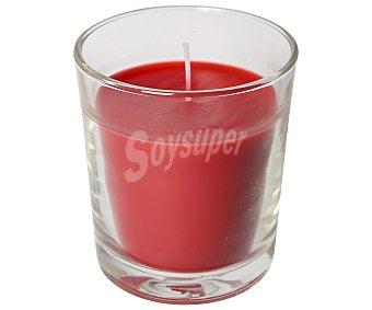 Auchan Vaso con vela color rojo perfume a frutos rojos, 105x105 milímetros 1 unidad