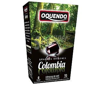 Oquendo Café molido de tueste natural de Colombia en monodosis compatibles con Nespresso 10 unidades de 50 gr