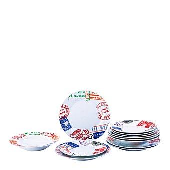 Vajilla en porcelana 18 piezas decorada Mod. POSTAL 18 piezas