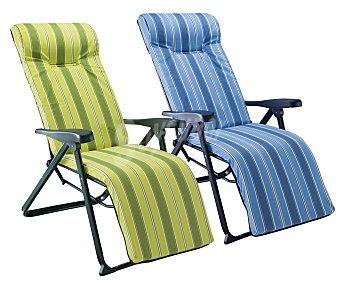 Auchan Tumbona plegable súper relax con 6 posiciones, fabricada en aluminio, tubo oval de 4x2 centímetros, con asiento de tela alcolchada de 6 centímetros estampada y cabezal anatómico 1 unidad