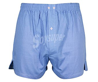 Calzoncillo bóxer en popelín de algodón 2U, color azul, talla XL.