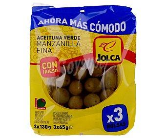 Jolca Aceitunas verdes manzanilla fina con hueso Pack de 3 bolsas de 65 gramos