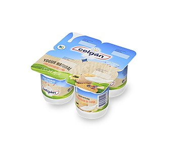 Celgán Yogur natural con azúcar caña Pack 4 envases x 125 g - 500 g