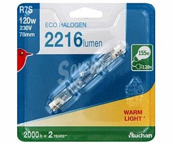 Auchan Bombilla ecohalógena lineal 120W, casquillo RS7 y luz cálida 1 unidad