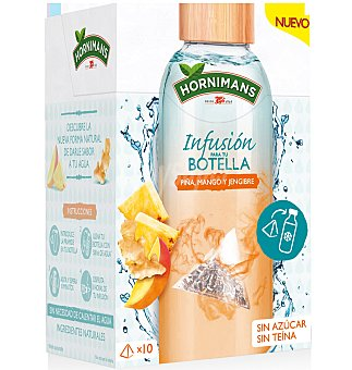 Hornimans Infusión para tu botella piña, mango y jengibre 10 unidades