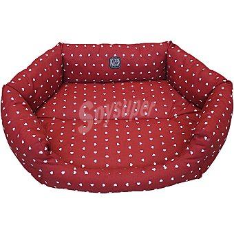 San Dimas cuna para mascotas color rojo estampado corazones medida 58x42 cm  1 unidad
