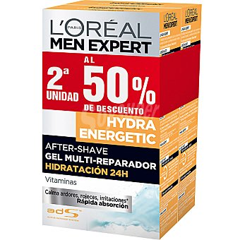 L'OREAL MEN EXPERT HYDRA ENERGETIC After shave gel multi-reparador hidratación 24h pack 2 frasco 100 ml (pack precio especial 2ª unidad al 50%) Pack 2 frasco 100 ml