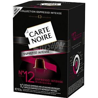 CARTE NOIRE Espresso Intense Café intensidad 12 compatible con máquinas Nespresso 10 cápsulas estuche 53 g 10 c