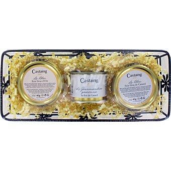 Castaing Foie gras de oca + foie gras de pato + paté de pato Cesta Bandeja 127 g