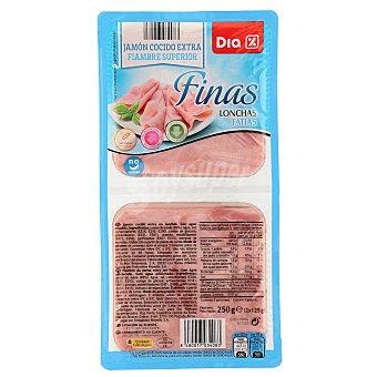 DIA Jamón cocido extra finas lonchas Pack 2 x 125 g