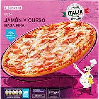 Eroski Pizza masa fina de jamón-queso Caja 340 g