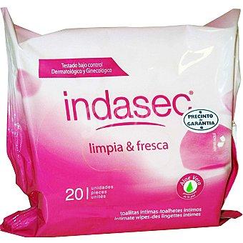 Indasec Toallitas íntimas Limpia & Fresca Caja 20 unidades