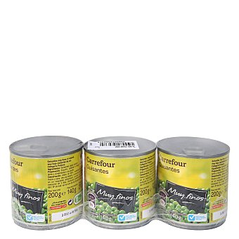 Carrefour Guisantes muy finos bajo contenido en sal Pack 3X140 g