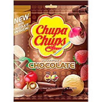 Chupa Chups Caramelos duros elaborados con zumo de fruta rellenos de chocolate bolsa 120 g 10 unidades
