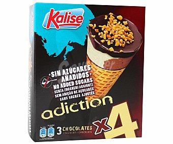 Kalise Cono sabor a 3 chocolates sin azúcares pack 4 unidades 120 mililitros 120ml