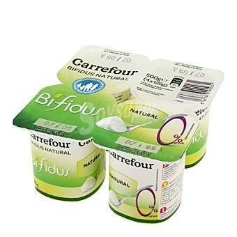 Carrefour Bífidus desnatado 0% materia grasa natural Pack de 4x125 g