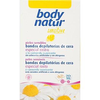 BODY NATUR Sensitive Bandas depilatorias de cera especial rostro a la camomila pieles sensibles caja 12 unidades Caja 12 unidades